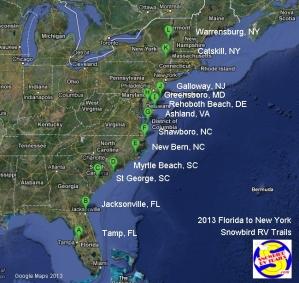 Spring 2013 Tampa to Canada Snowbird RV Route