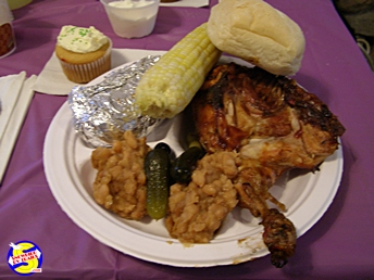 Your plate at The Pottersville Methodist BBQ Chicken Supper