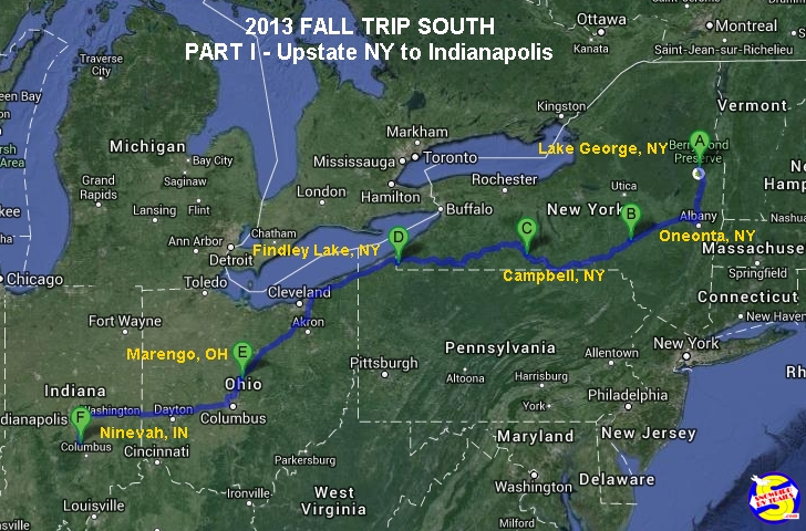 2013 Fall Snowbird RV Trail South Part I - New York,  Ohio & Indiana
