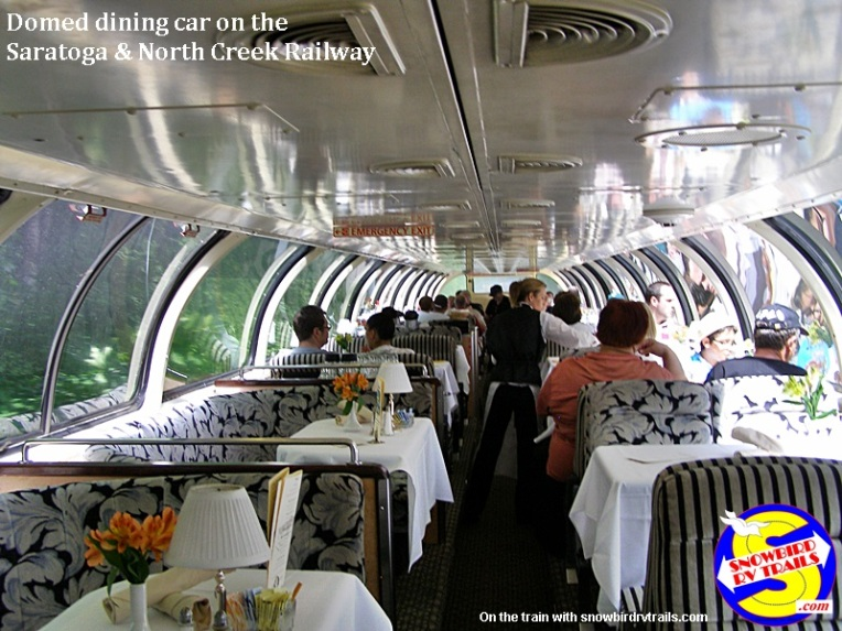Domed dining car on he Saratoga & North Creek Railway