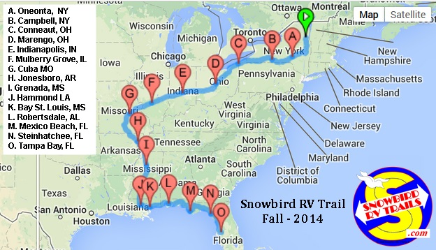 Snowbird RV Route South - Fall 2014