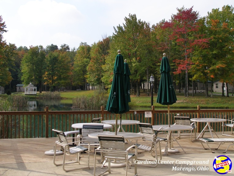 Deck and pond view at Cardinal Center Campground - Marengo, Ohio