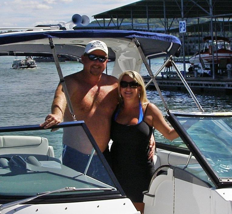 Boating on Lake Monroe - Jay and Kathy