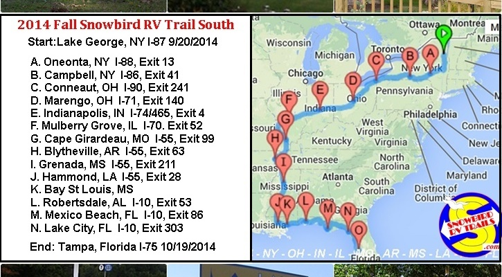 Our Fall 2014 Snowbird RV Route