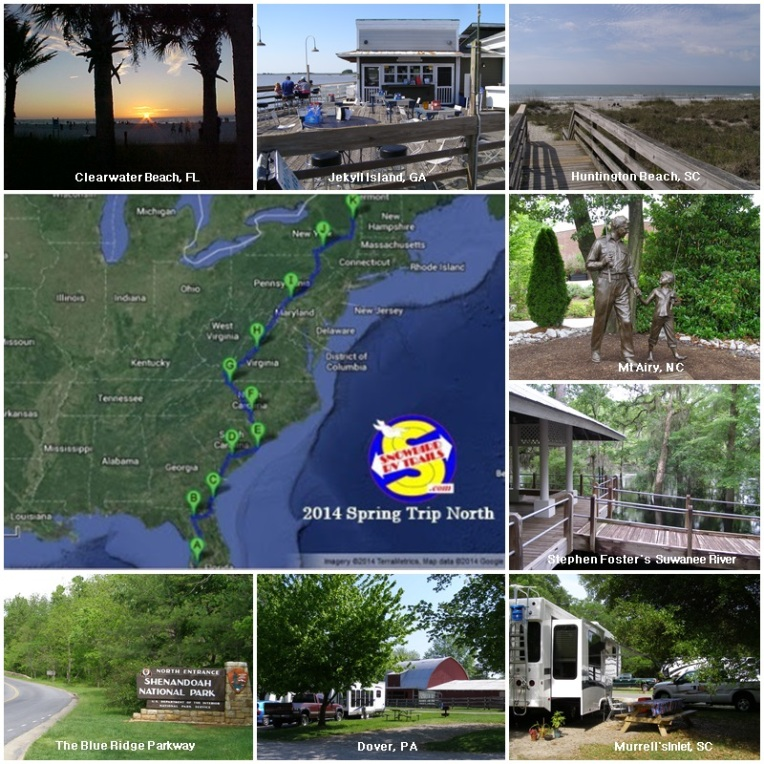Snowbird RV Route from from Florida to the Northeast and Canada