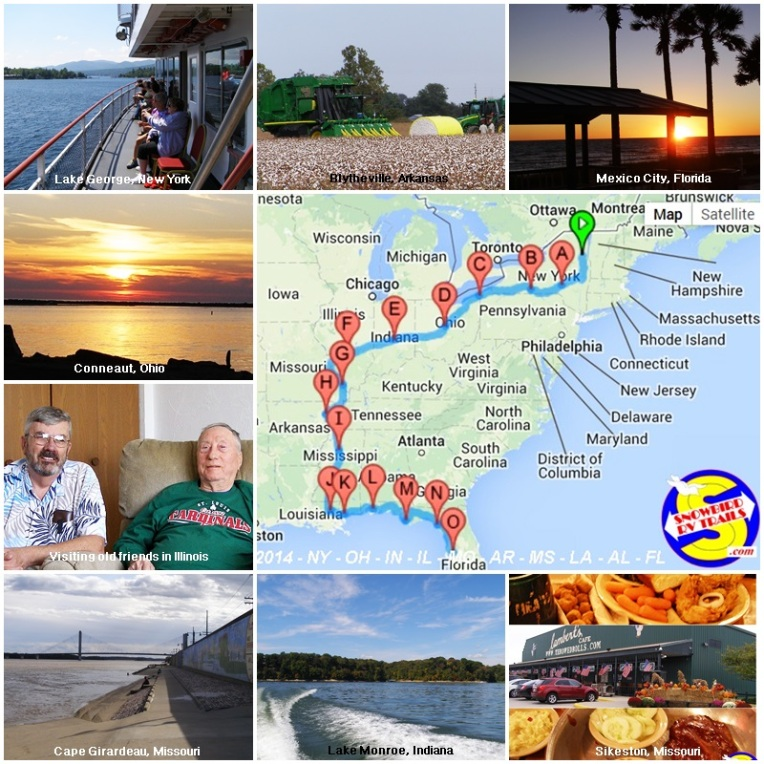 RVing from Upstate New York to Florida with stopovers in NY, Ohio, Indiana, Illinois, Missouri, Arkansas, Mississippi, Louisiana, Alabama and Florida