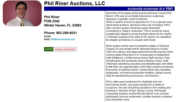 Phil Riner - A classy Winter Haven Florida auctioneer