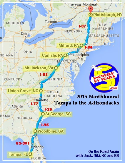 Map of our RV Route Tampa to the Northeast