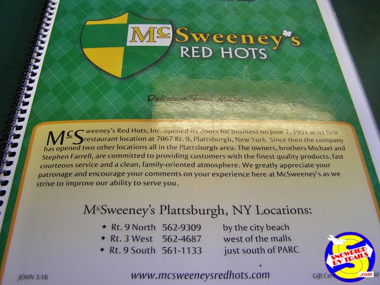 McSweeneys Red Hots Menu