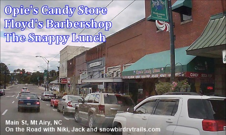 Opie's Candy Store, Floyd's Barber Shop and Snappy Lunch on Main St in Mount Airy