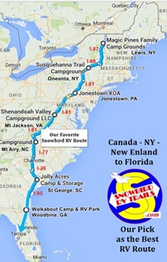 Our Best Snowbird RV Route to Florida from Canada and the Northeast