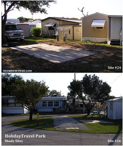 Typical open RV sites at Holiday Travel Park in Holiday, FL